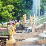 Golden statue at Grand cascade fountains